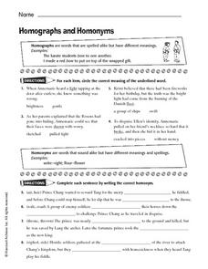 homographs and homonyms 5th 8th grade worksheet lesson planet. Black Bedroom Furniture Sets. Home Design Ideas