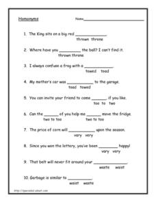Homonyms 2 Worksheet