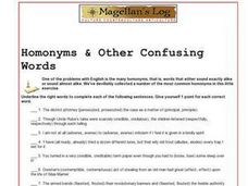 Homonyms & Other Confusing Words Worksheet
