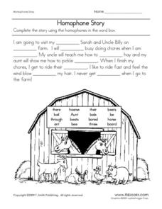 Homophone Story Worksheet