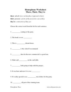 Homophone Worksheet: There, Their, They're Worksheet