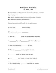Homophone Worksheet: To, Too, Two Worksheet