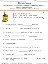 Homophones 3 Worksheet