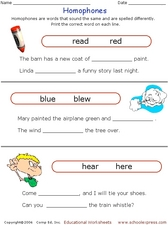 Homophones 6 Worksheet