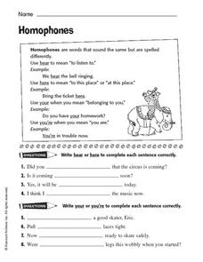 Homophones: Your and You're, Hear and Here Worksheet