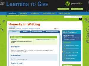 Honesty in Writing Lesson Plan
