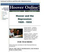 Hoover and the Depression:  1929 - 1933 Lesson Plan