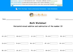 Horizontal Addition and Subtraction: Numbers 1-10 Worksheet
