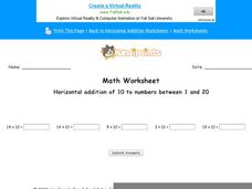 Horizontal Addition of 10 to Numbers Between 1 and 20: Part 5 Worksheet