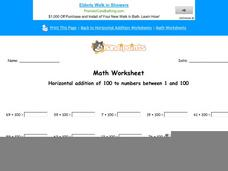 Horizontal Addition of 100 to Numbers Between 1 and 100: part 4 Worksheet