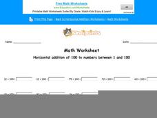 Horizontal Addition of 100 to Numbers Between 1 and 100: Part 6 Worksheet