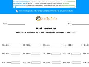 Horizontal Addition of 1000 to Numbers Between 1 and 1000 Worksheet
