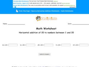 Horizontal Addition of 20 to Numbers Between 1-20: Worksheet 2 Worksheet