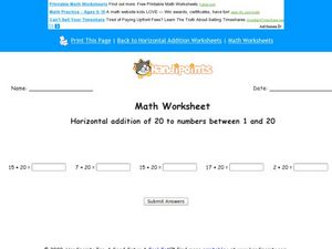 Horizontal Addition of 20 to Numbers Between 1 and 20 Worksheet
