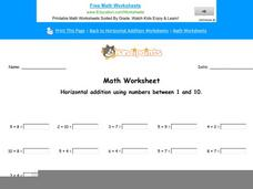 Horizontal Addition Using Numbers Between 1-10: Part 3 Worksheet