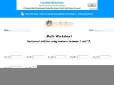 Horizontal Addition Using Numbers Between 1 and 10: Part 1 Worksheet