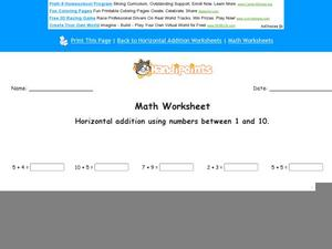 Horizontal Addition Using Numbers Between 1 and 10 Worksheet