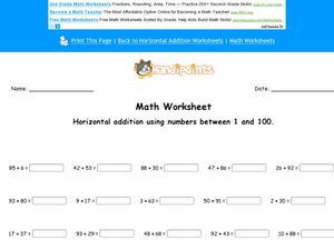 Horizontal Addition Using Numbers Between 1 and 100 Worksheet