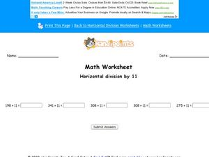 Horizontal Division by 11: Worksheet 10 Worksheet