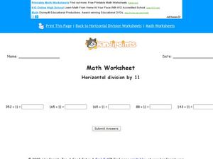Horizontal Division by 11 Worksheet