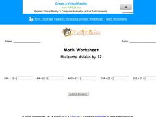 Horizontal Division by 12: Part 4 Worksheet