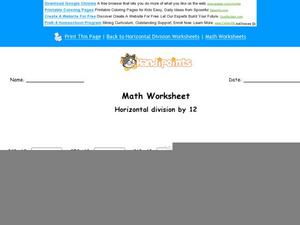 Horizontal Division By 12: Part 5 Worksheet