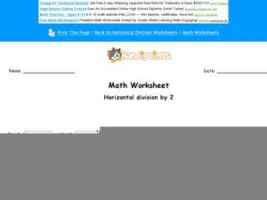 Horizontal Division by 2 Part 3 Worksheet