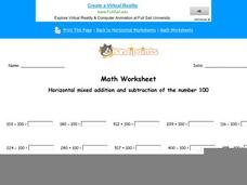 Horizontal Mixed Addition and Subtraction of the Number 100: Part 9 Worksheet