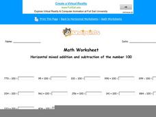 Horizontal Mixed Addition and Subtraction on the Number 100: Part 10 Worksheet