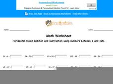 Horizontal Mixed Addition and Subtraction Using Numbers Between 1 and 100: Part 2 Worksheet