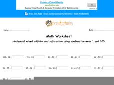 Horizontal Mixed Addition and Subtraction Using Numbers Between 1 and 100: Part 3 Worksheet