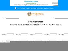 Horizontal Mixed Addition and Subtraction With One Negative Number: Part 3 Worksheet