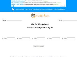 Horizontal Multiplication by 12 Worksheet