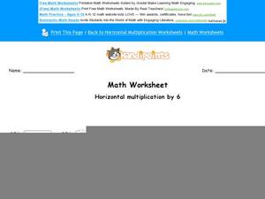 Horizontal Multiplication by 6 Worksheet