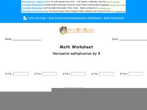 Horizontal Multiplication by 8: part 7 Worksheet