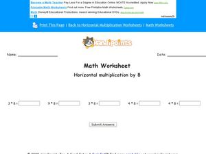 Horizontal Multiplication by 8 Worksheet