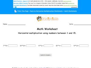 Horizontal Multiplication Using Numbers Between 1 and 15 Worksheet