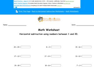 Horizontal Subtraction Using Numbers 1 and 20 Worksheet