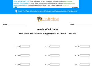 Horizontal Subtraction Using Numbers Between 1 and 20 Lesson Plan