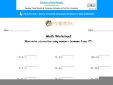 Horizontal Subtraction Using Numbers Between 1 and 20: Part 8 Worksheet