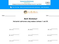 Horizontal Subtraction Using Numbers Between 1 and 20 Worksheet