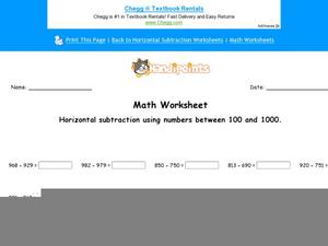 Horizontal Subtraction Using Numbers Between 100 and 1000: Part 1 Worksheet
