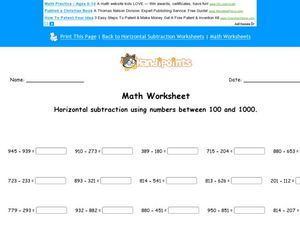 Horizontal Subtraction Using Numbers Between 100 and 1000 Worksheet