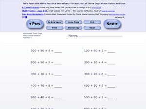 Horizontal Three Digit Place Value Addition Worksheet