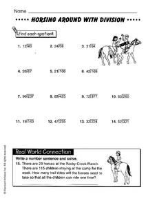 Horsing Around with Division Worksheet