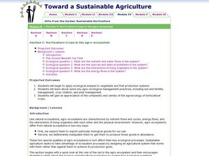 Horticulture Crops in the agro-ecosystem Lesson Plan