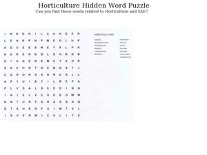 Horticulture Hidden Word Puzzle Lesson Plan