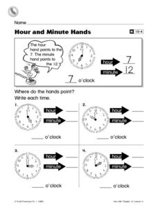 Hour and Minute Hands Worksheet