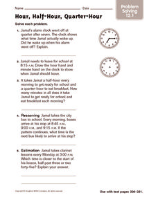 Hour, Half-Hour, Quarter-Hour: Problem Solving Worksheet
