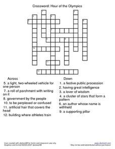 Hour of the Olympics Crossword Puzzle Worksheet
